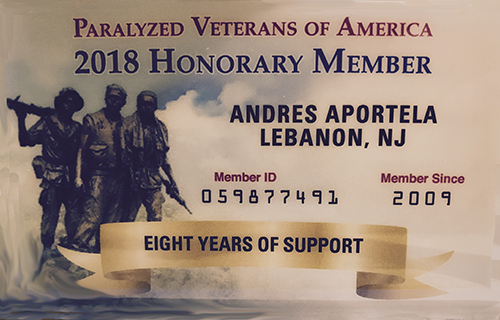 Picture Of veterans support card of Andres Aportela